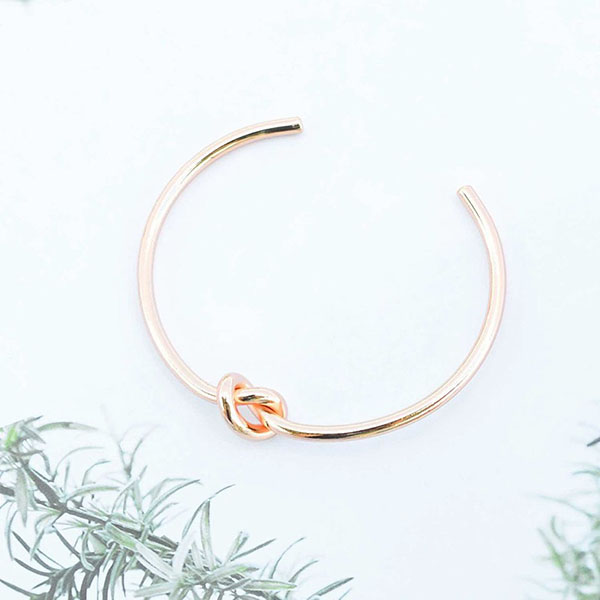 Silver knot cuff bangle B-R5005 Featured Image