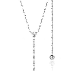 SILVER TRIPLE CZ LARIAT NECKLACE  $7.20