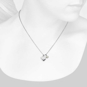 Silver pearl heart pendant necklace