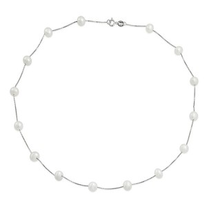 Silver pearl choker necklace