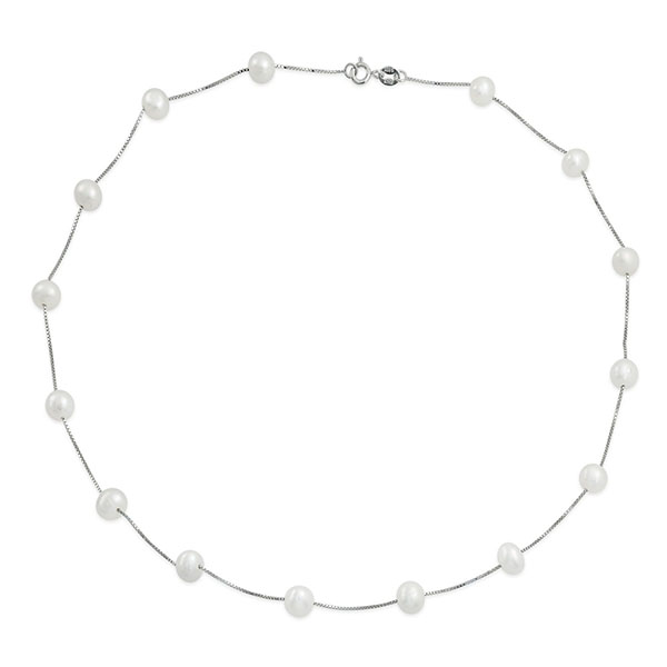 Silver pearl choker necklace Featured Image