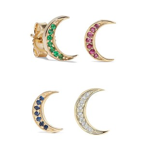 Silver mini moon earring