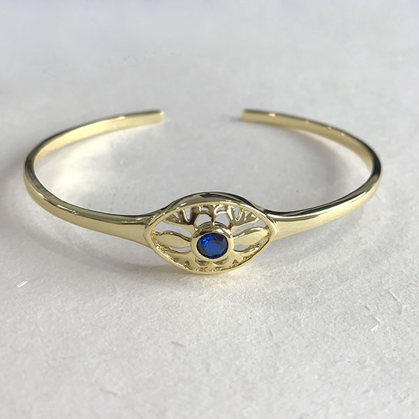 Silver sapphire eye cuff bangle B-R2294 Featured Image