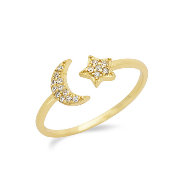 Silver open moon star ring Featured Image