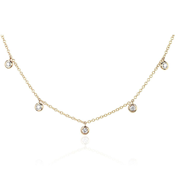 SILVER 5 CZ BEZEL CHOKER NECKLACE  $7.60 Featured Image