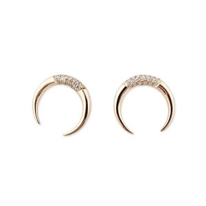 Silver crescent horn stud earring