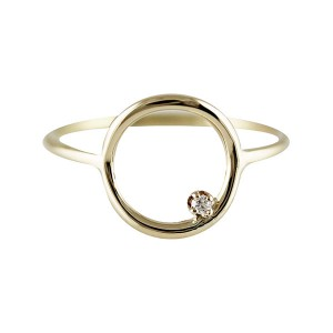 Silver large circle prong CZ ring