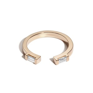 Low price for Unicorn Bracelets - Silver open double rectangle cz ring – Gemnel Jewelry