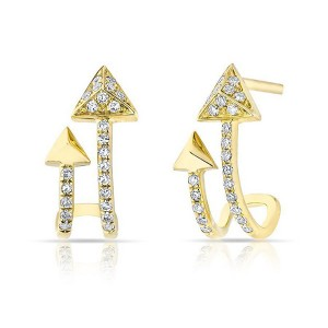 Silver double arrow earring