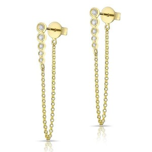 Silver cz bezel bar chain earring