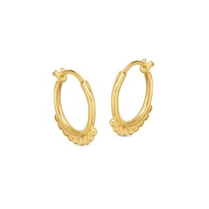 Silver beaded hinged hoop earring E-H1050