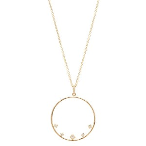 Silver mixed cz circle pendant necklace