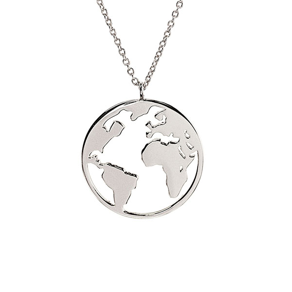 SILVER WORLD MAP PENDANT NECKLACE  $7.20