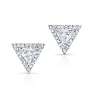 Silver triangle earring stud