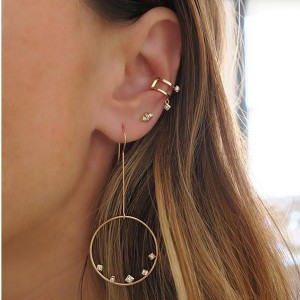 Silver big circle wire earring