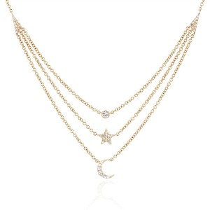 Silver star moon layered necklace