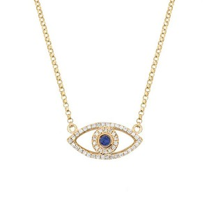 Silver cz evil eye necklace