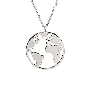 Silver small world map necklace