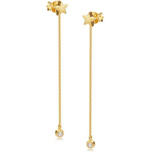 Silver star drop CZ chain earring E-D1140