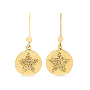 Silver star circle earring E-D2204