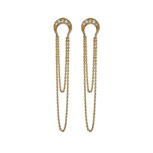 Silver crescent chain earring E-D2158