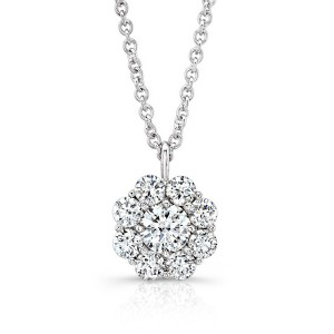 Silver flower CZ pendant necklace
