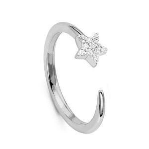 Silver CZ pave star cosmic open ring