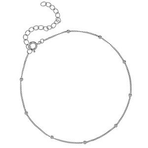 SILVER SATELLITE CHAIN BEAD ANKLE BRACELET $5.80