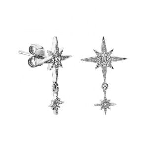 SILVER LONG CZ DROP STARBURST EARRINGS $4.90