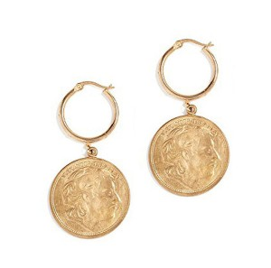 SILVER VINTAGE COIN DROP HOOP EARRINGS $9.60