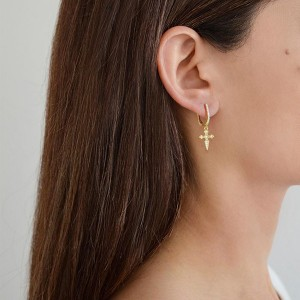 SILVER CROSS DROP HOOP EARRINGS $6.80
