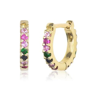 SILVER COLORFUL RAINBOW ZIRCON EARRING HOOP $4.60