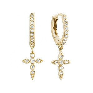 SILVER DIAMOND CROSS DROP EARRINGS $6.20