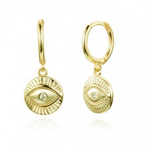 SILVER EYE HOOP COIN EARRGINS