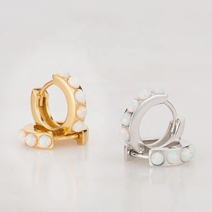 SILVER OPAL HUGGIE EARRINGS $7.90