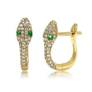 SILVER EMERALD HUGGIES SNAKE EARRINGS $6.40
