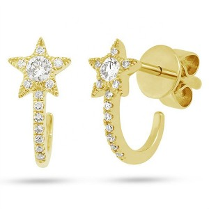 SILVER DIAMOND STAR HUGGIES HOOP EARRINGS $5.20