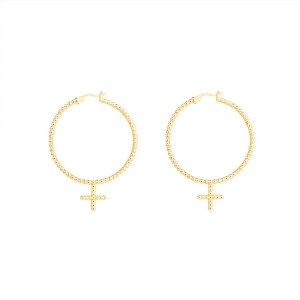 SILVER BEADED CROSS HOOP EARRINGS $9.20