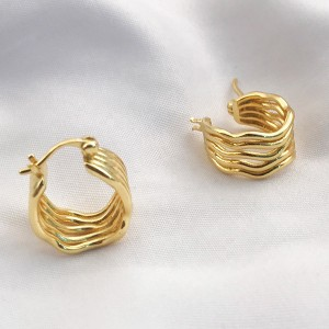 SILVER CUSTOM HOOP EARRINGS GOLD PLATED $8.90