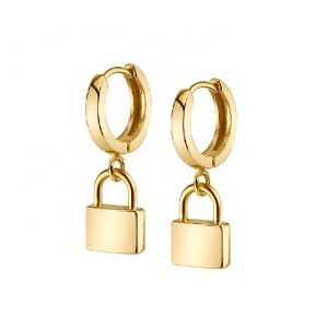 SILVER LOCK CHARM HOOP EARRINGS $5.90