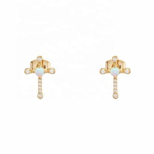 BEAUTIFUL DESIGNED OPAL CROSS EARRINGS $5.40