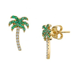 NEW MODEL EMERALD PALM TREE EARRINGS $5.60