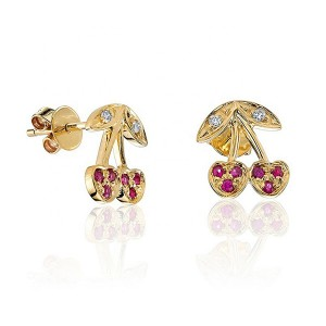 SILVER GENUINE RUBY CHERRY NEWEST STUD EARRING $4.80