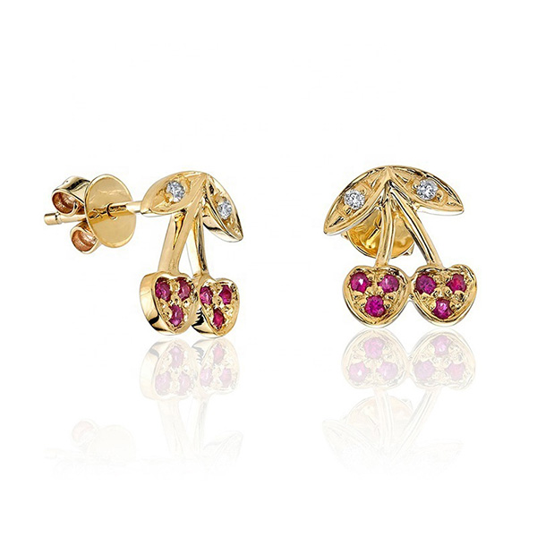 SILVER GENUINE RUBY CHERRY NEWEST STUD EARRING $4.80 Featured Image