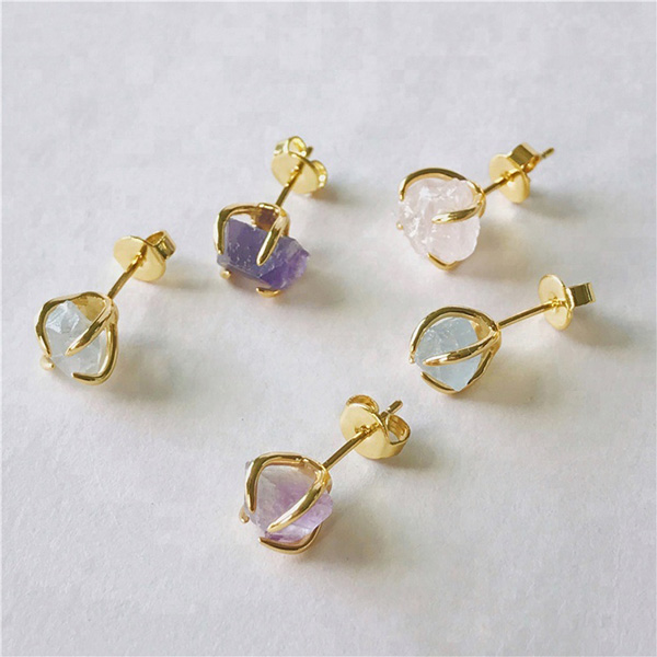 SILVER NATURAL STONE QUARTZ STUD EARRINGS $4.90 Featured Image