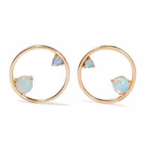 SILVER SYNTHETIC OPAL EARRINGS $6.40