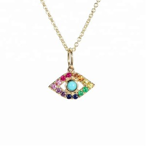 SILVER TURQUOISE RAINBOW EVIL EYE NECKLACE  $6.40