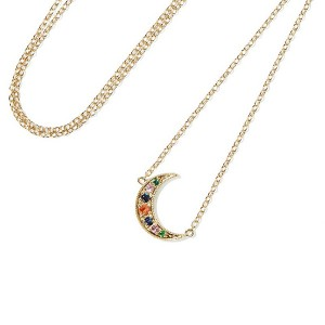 SILVER RAINBOW  CRESCENT MOON NECKLACE   $6.60