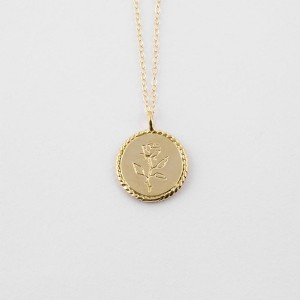 SILVER ROSE MEDALLION COIN NECKLACE  $7.50