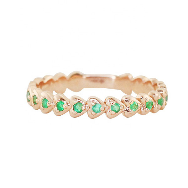 SILVER HEART STACK RING EMERALD  $4.80 Featured Image